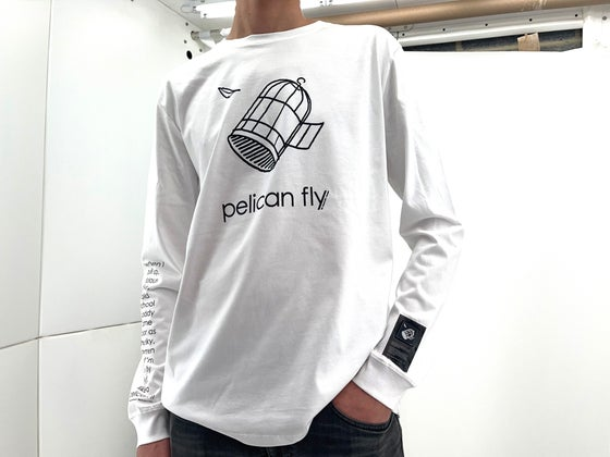 Image of Pelican Fly T-Shirt Long Sleeves (Cage Logo Black) + Patch