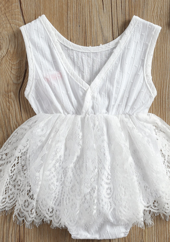 White Sleeveless Lace Romper