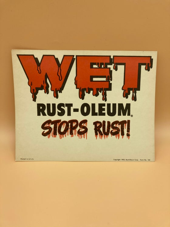 Image of Vintage Rustoleum wet paint sign.