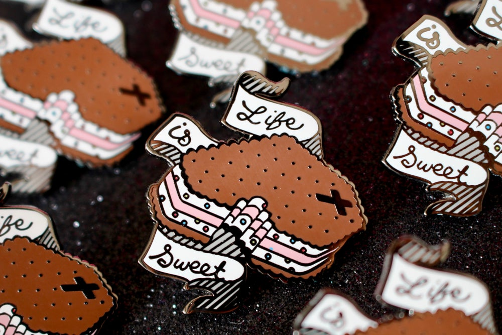 """Spooky Sweets - """"Life is Sweet"""" Coffin Ice Cream Pin"""