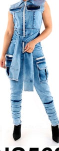 Image of Denim Belt Jumpsuit