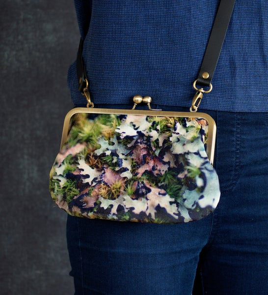 Image of Moss, velvet shoulder bag with leather or chain shoulder strap