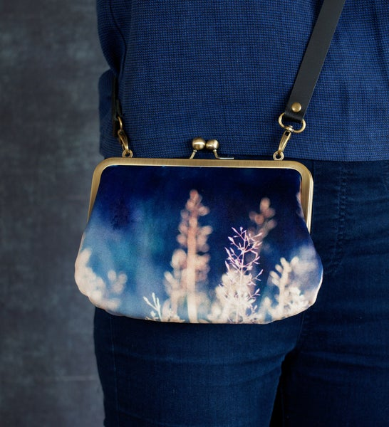 Image of Blue grasses, velvet shoulder bag with leather shoulder strap or chain handle
