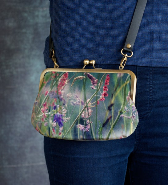 Image of Meadow grasses, velvet shoulder bag with leather or chain shoulder strap