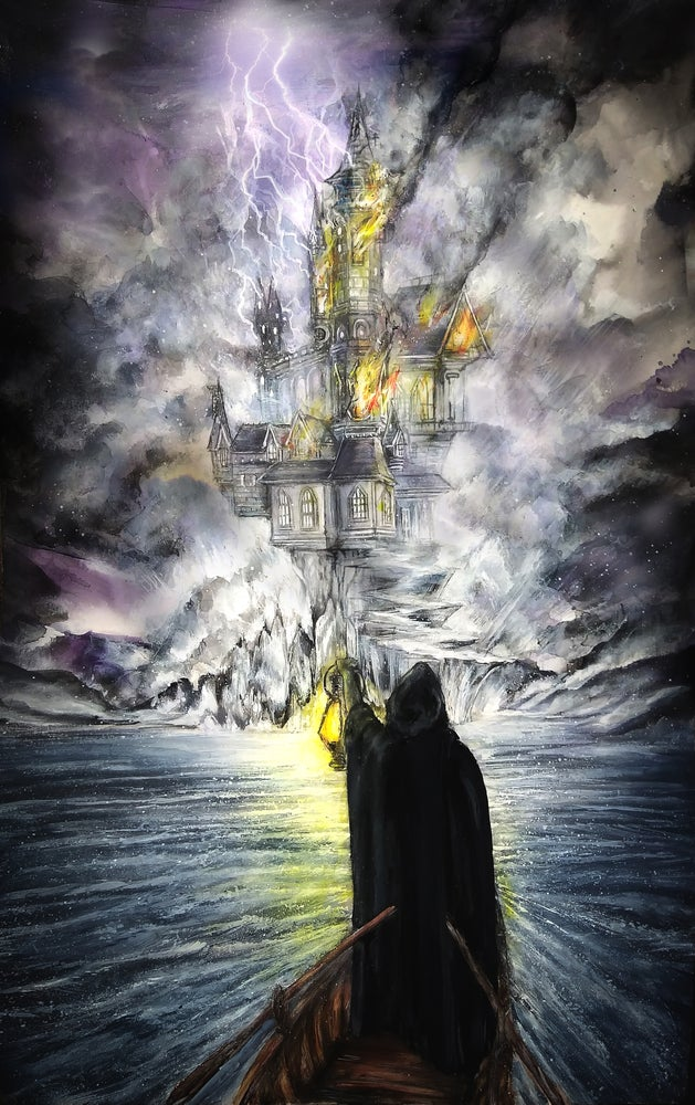 """Image of """"The Tower"""" Original Painting"""