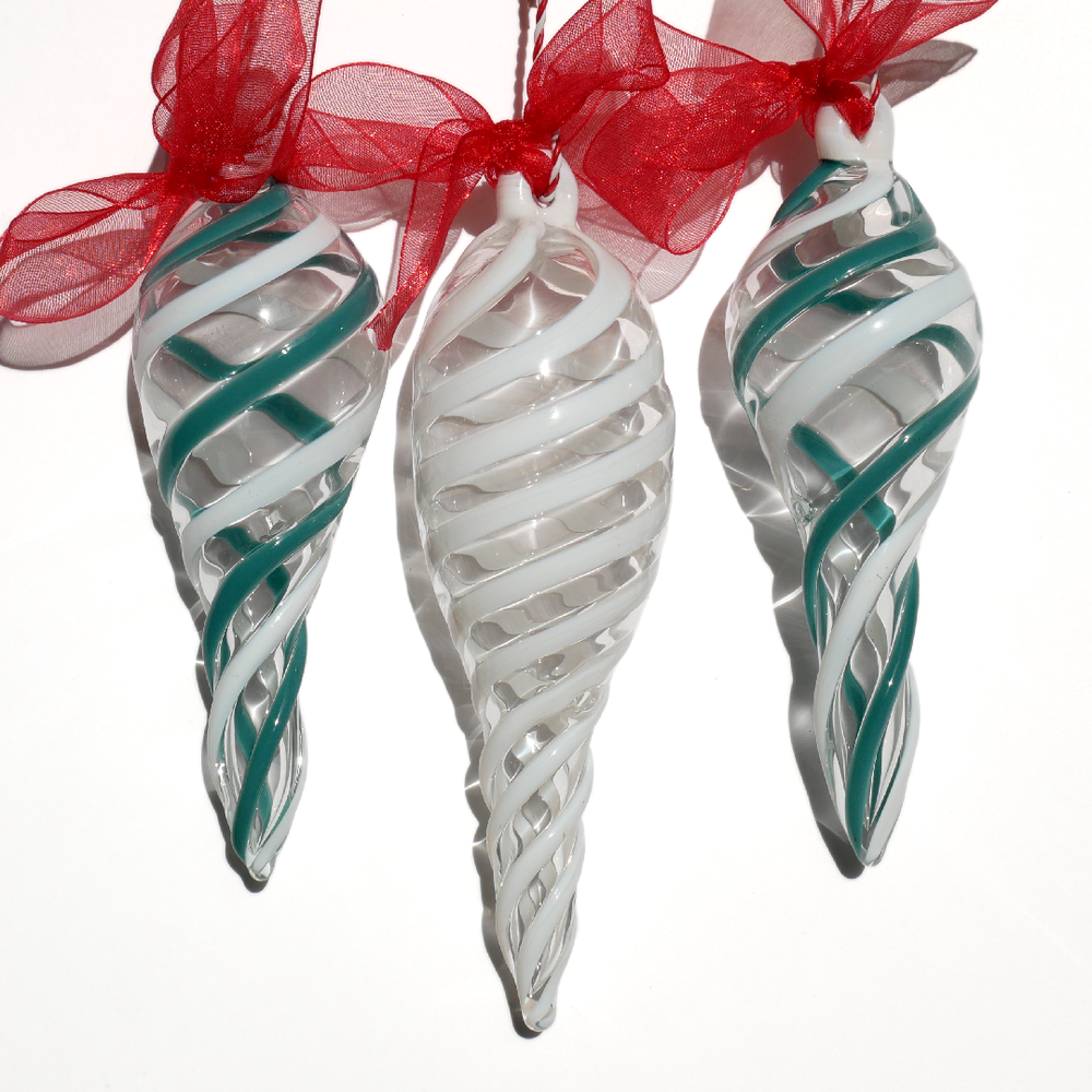 Image of 3 Ornaments in Peacock and White