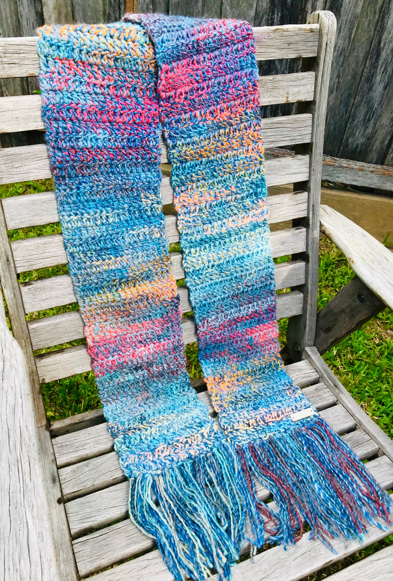 Image of Blue Sky Days at Sunset Crochet Scarf