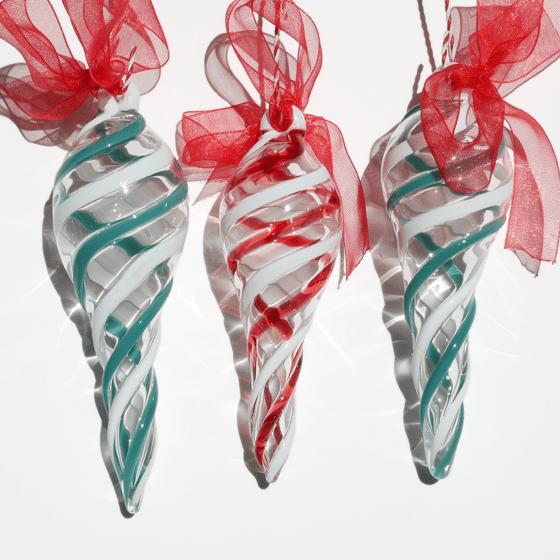 Image of 3 White Stripe Ornaments