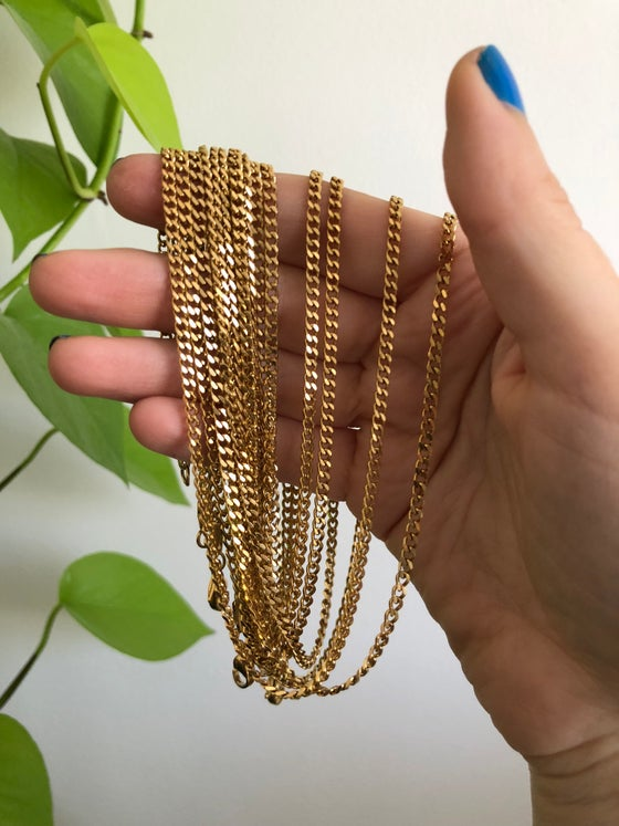 Image of MINI CUBAN LONG CHAIN - GOLD STAINLESS STEEL