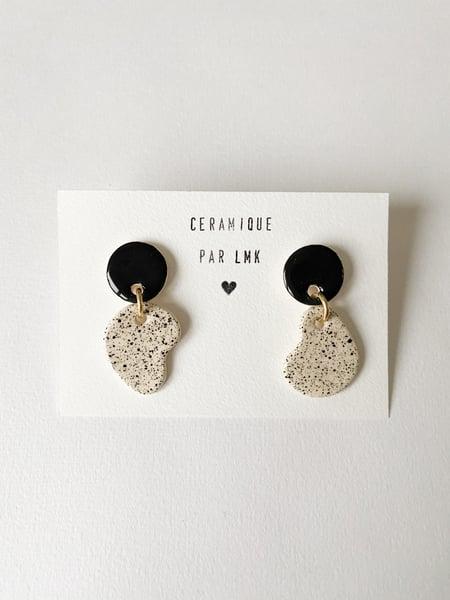 Image of Paire de boucles d'oreilles céramique MINI RONDA noir et splash noir