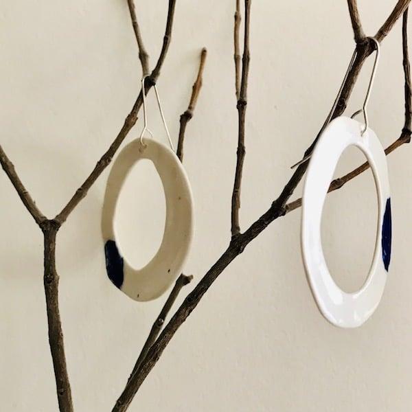 Image of Loop + Patch ceramic earrings