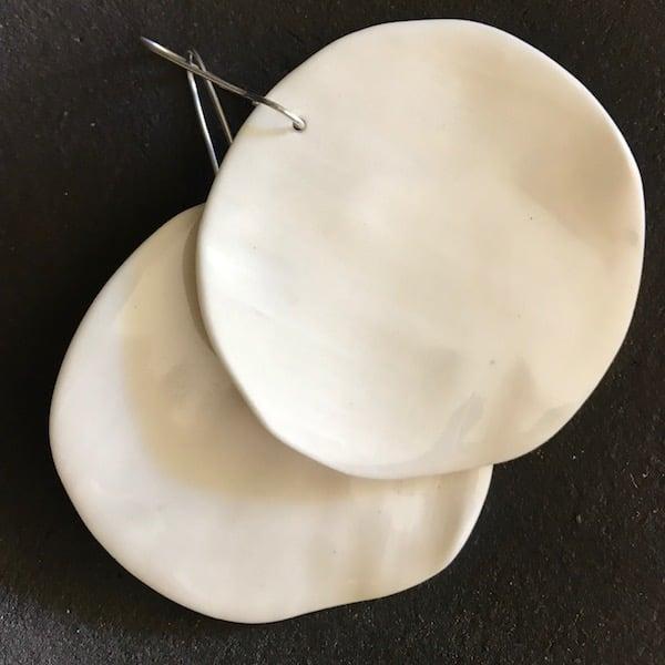 Image of Full Moon ceramic earrings