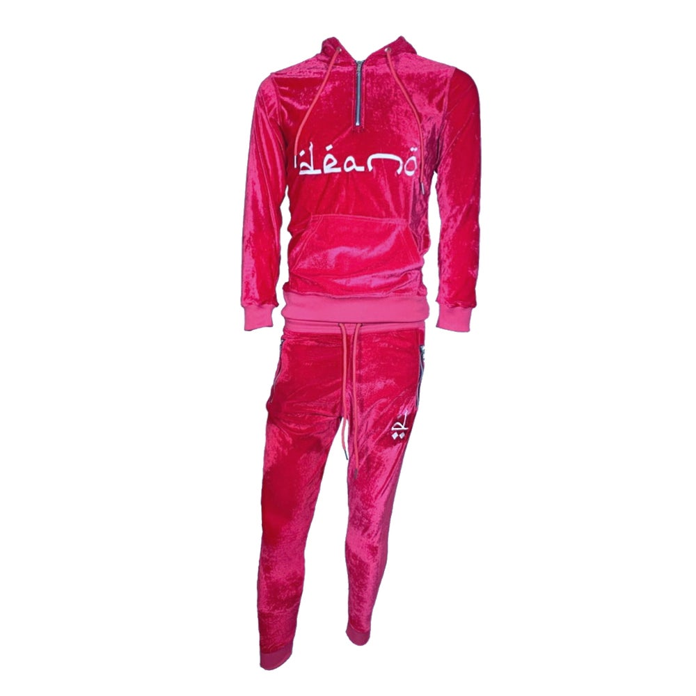 Image of Big Don Velour Sweatsuit Hot Pink