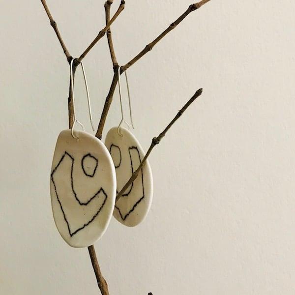 Image of Line + Shape ceramic earrings