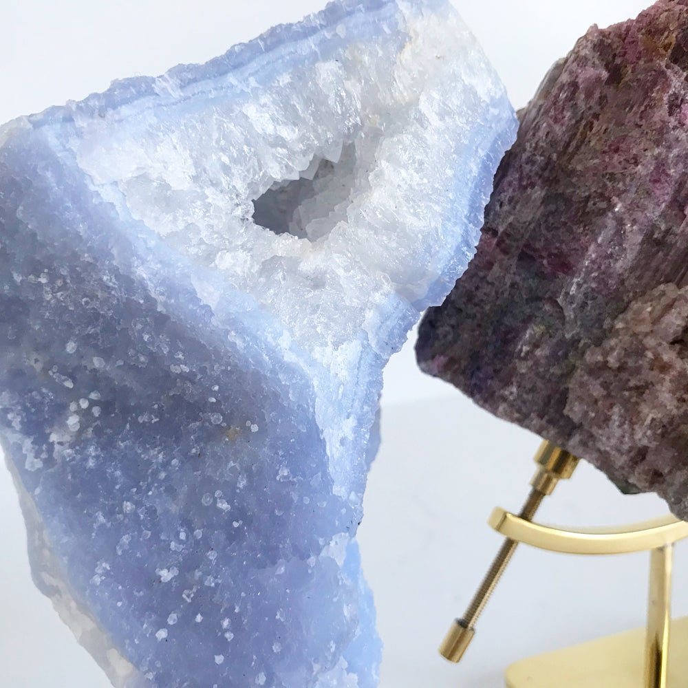 Image of Blue Chalcedony no.65 + Lucite and Brass Stand
