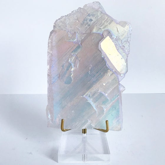 Image of Titanium Coated Quartz no.12 + Lucite and Brass Stand