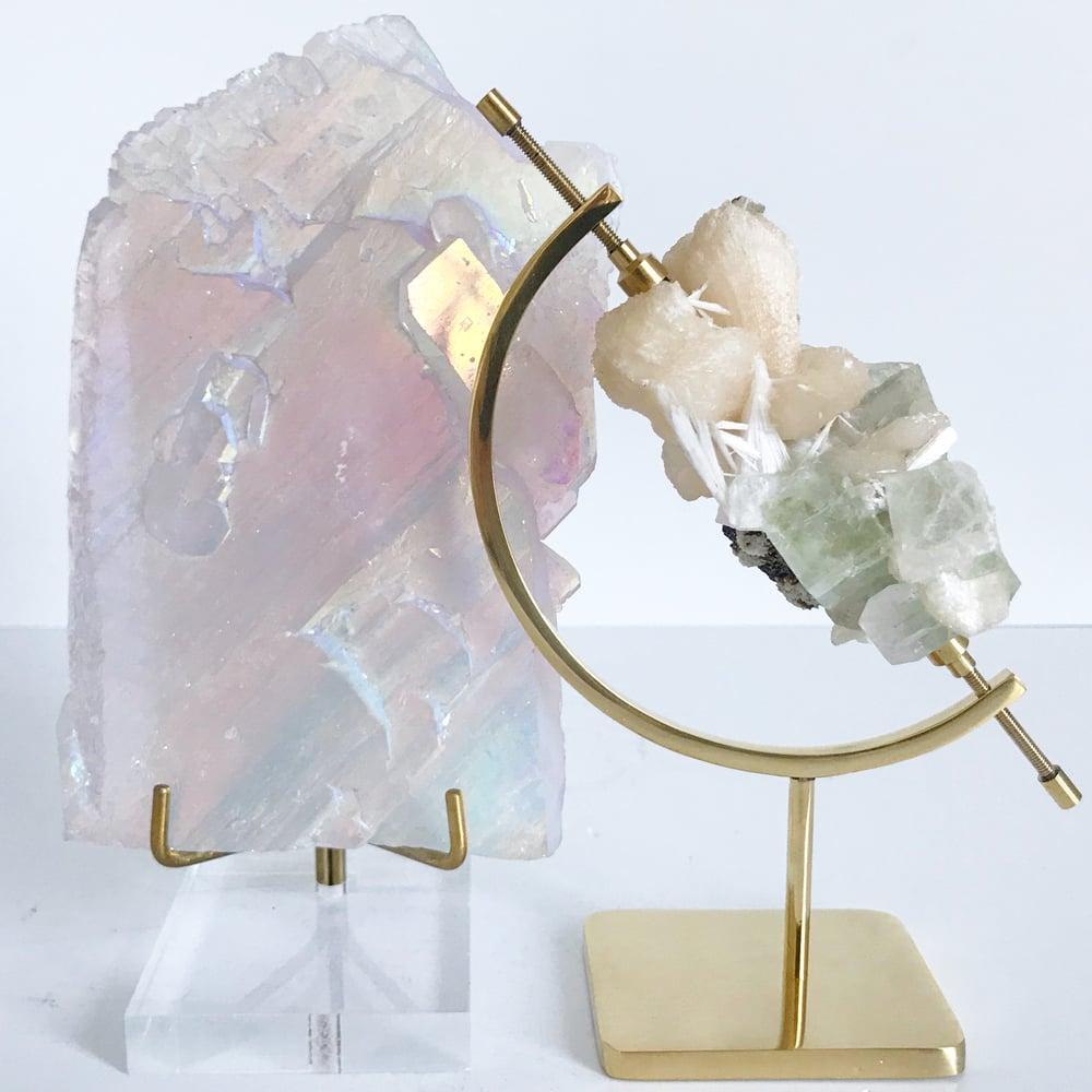 Image of Titanium Coated Quartz no.12 + Lucite and Brass Stand