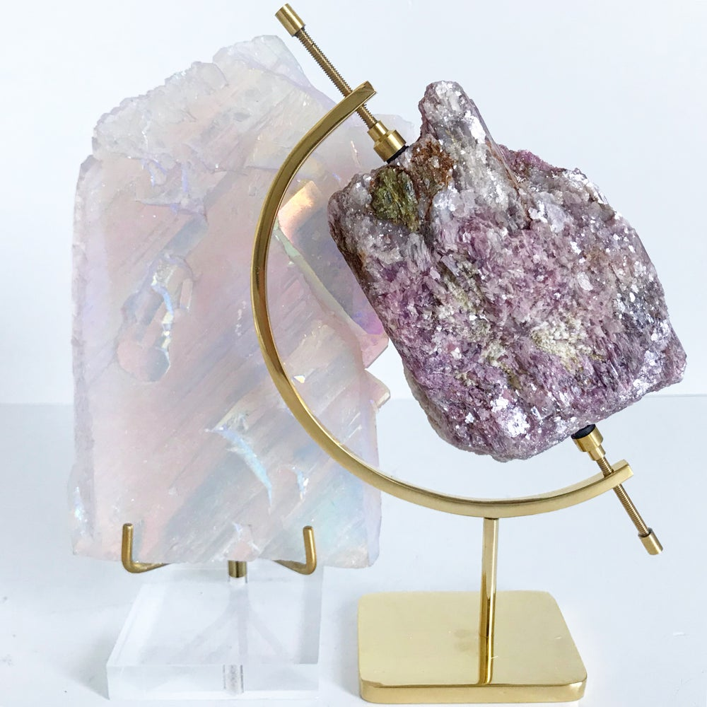 Image of Rubellite/Lepidolite no.11 + Brass Arc Stand