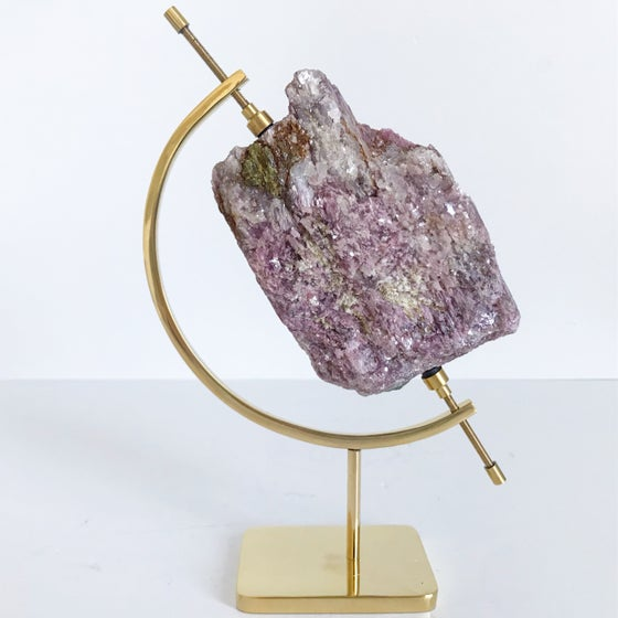 Image of Rubellite/Lepidolite no.11 + Brass Arc Stand