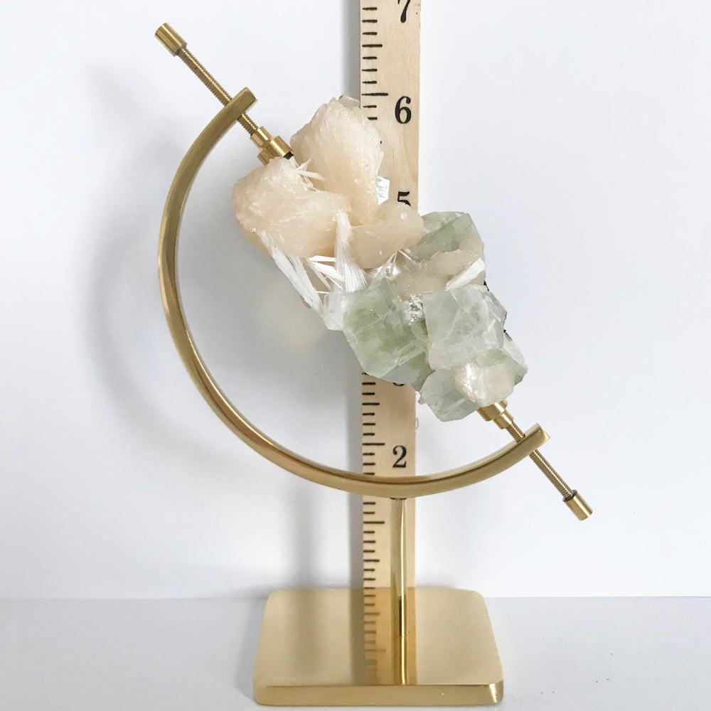 Image of Green Apophyllite/Stilbite/Scolecite no.14 + Brass Arc Stand
