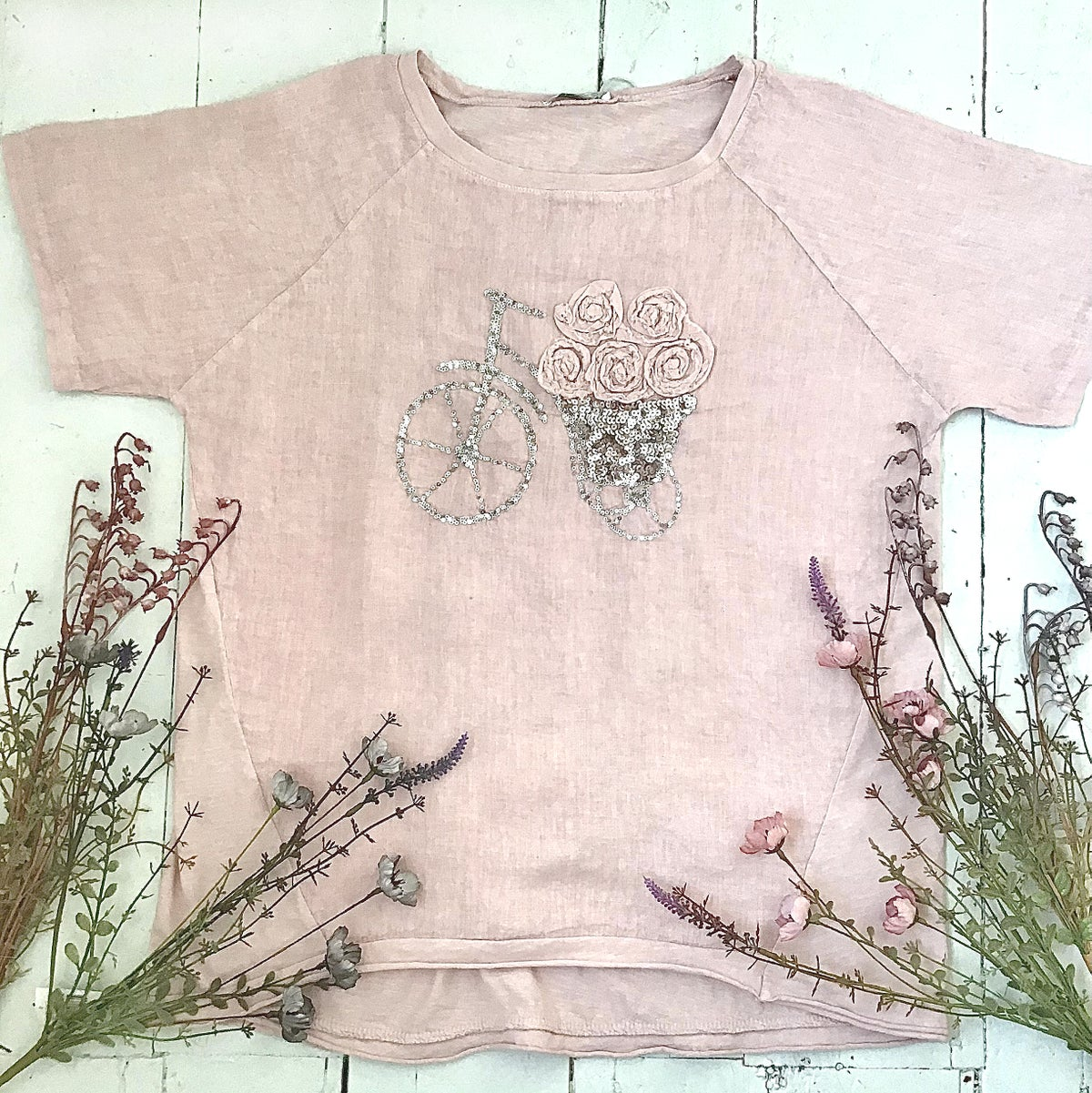 Image of  Made in Italy Linen top with bicycle and Roses - Available in 3 Colours