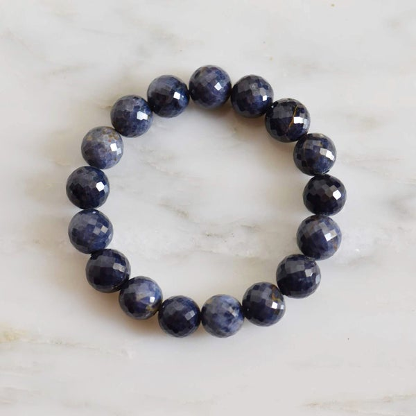 Image of Natural Ice Blue Sapphire faceted cut spheres bracelet
