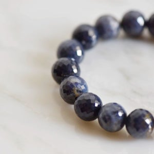 Image of Natural Blue Sapphire faceted cut spheres bracelet