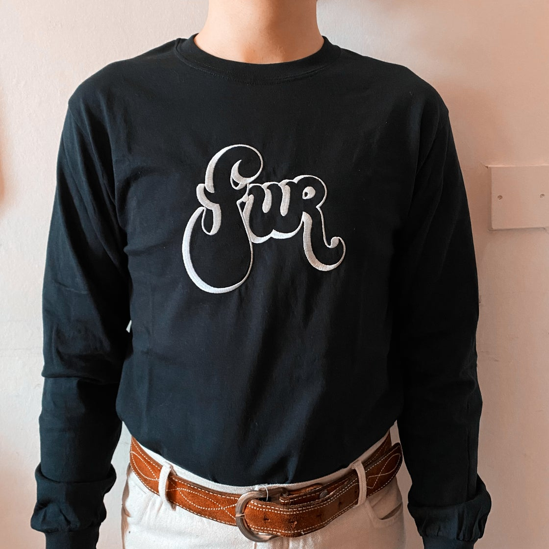 Image of Black 'FUR' Embroidered Long Sleeve