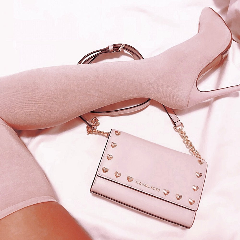 Image of MICHAEL KORS RUBY CLUTCH CROSSBODY PURSE - COLOR: BLUSH PINK