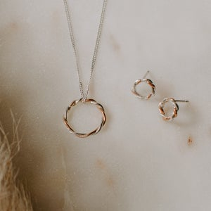 Image of Twisted 9ct Rose Gold & Silver set