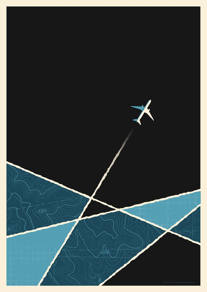 Image of Plane Artprint Blue Version