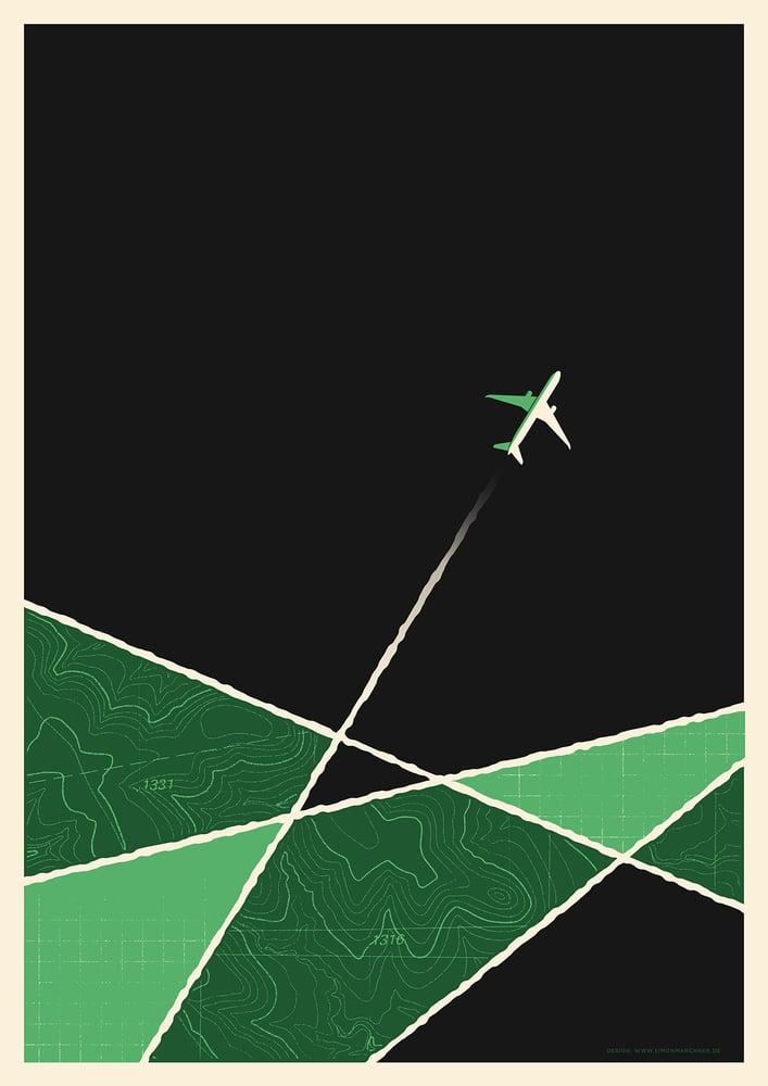 Image of Plane Artprint Green Version