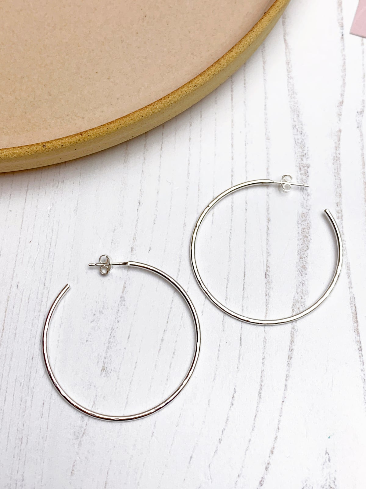 Image of Large hammered silver hoops