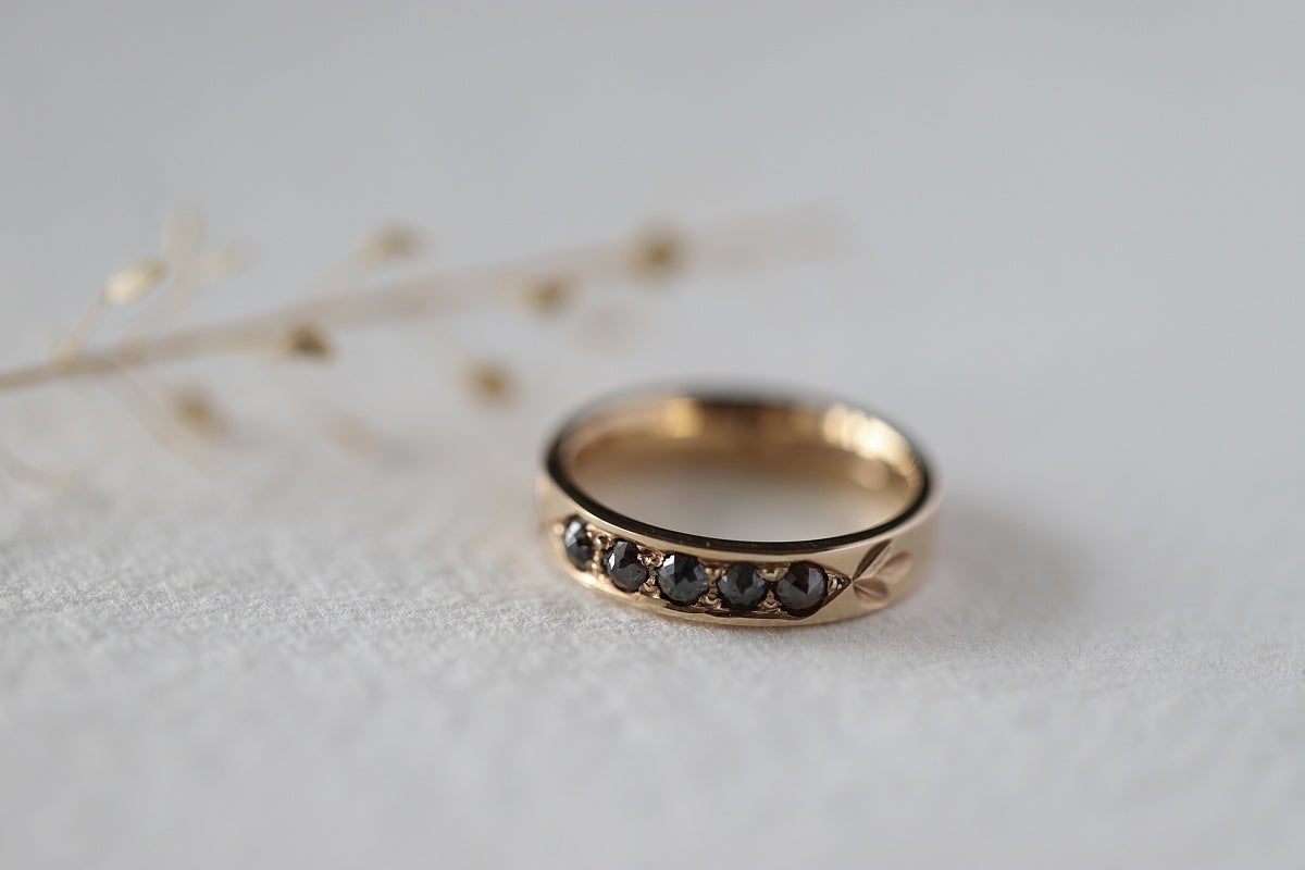 Image of 18ct Rose Gold, Rose-cut diamond semi-eternity ring