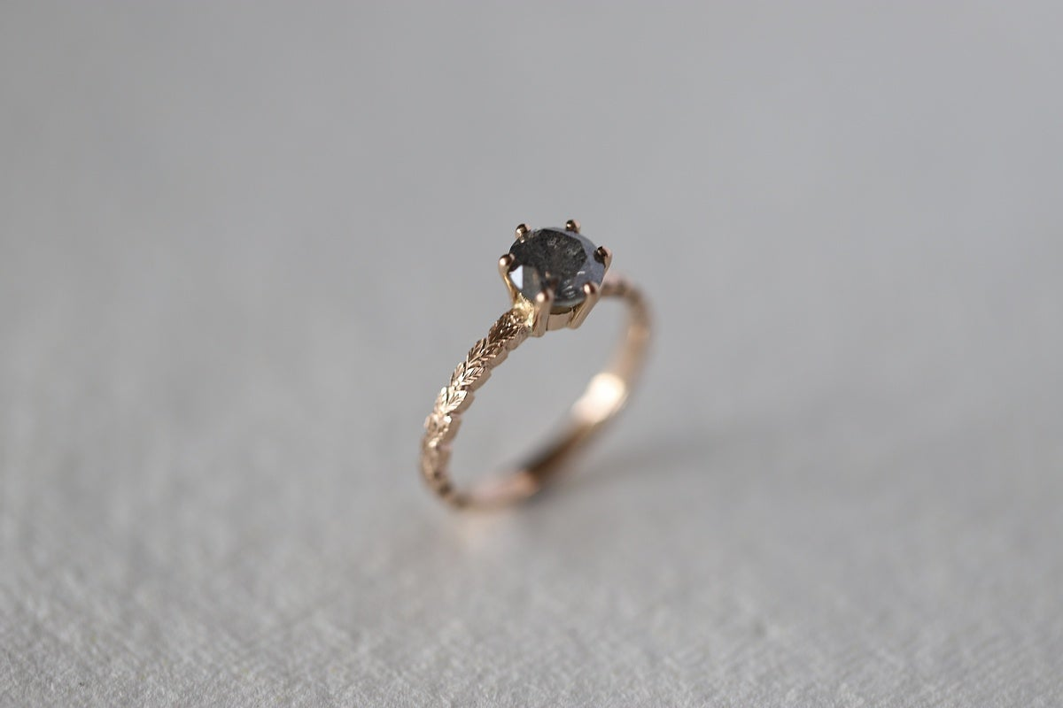 Image of 18ct Rose Gold, Brilliant cut grey diamond ring IOW171