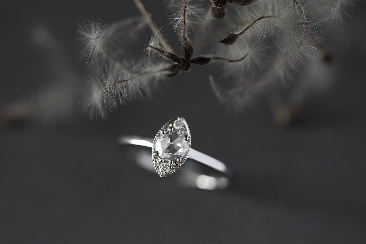 Image of Platinum 4.7mm rose-cut white diamond marquise ring (IOW171)