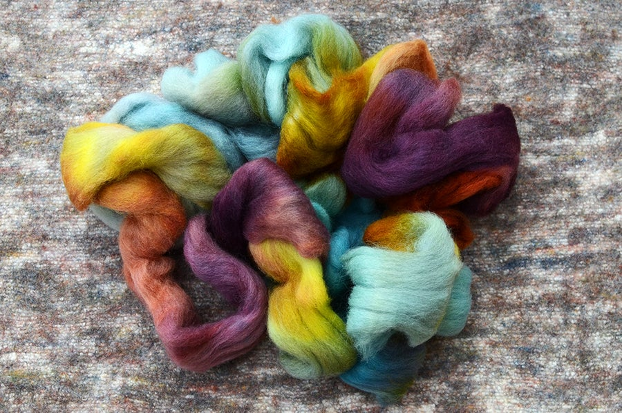 "Image of ""Needled Pines"" Hand-dyed Kent Romney Lambswool Spinning Fiber - 4 oz."