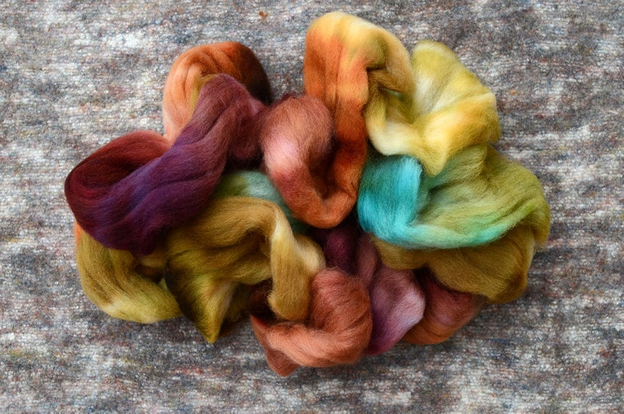 "Image of ""Wanderers"" Hand-dyed Kent Romney Lambswool Spinning Fiber - 4 oz."