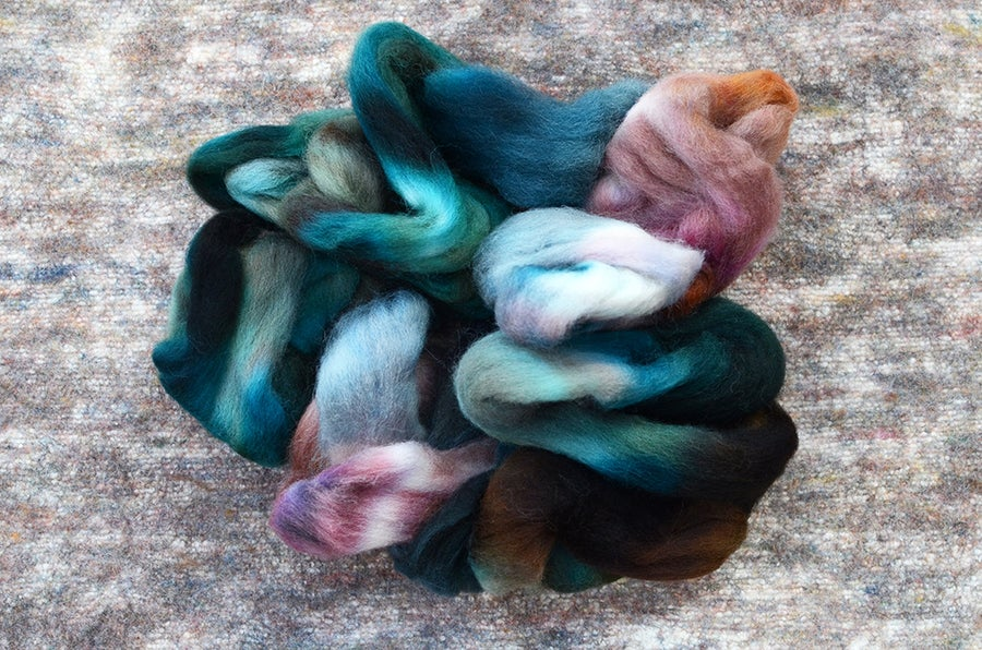 "Image of ""Pyrite"" Hand-dyed Kent Romney Lambswool Spinning Fiber - 4 oz."