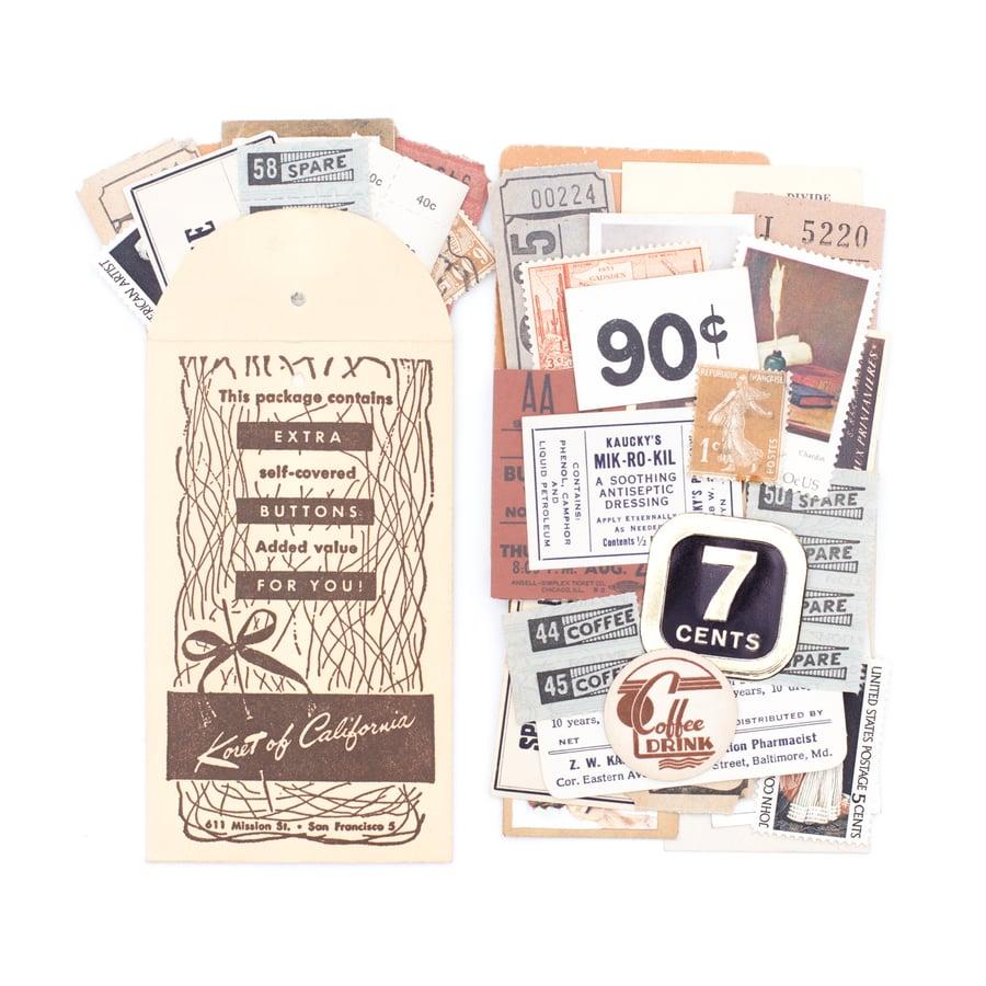 Image of Mini Extra Button Envelope with Neutral Ephemera