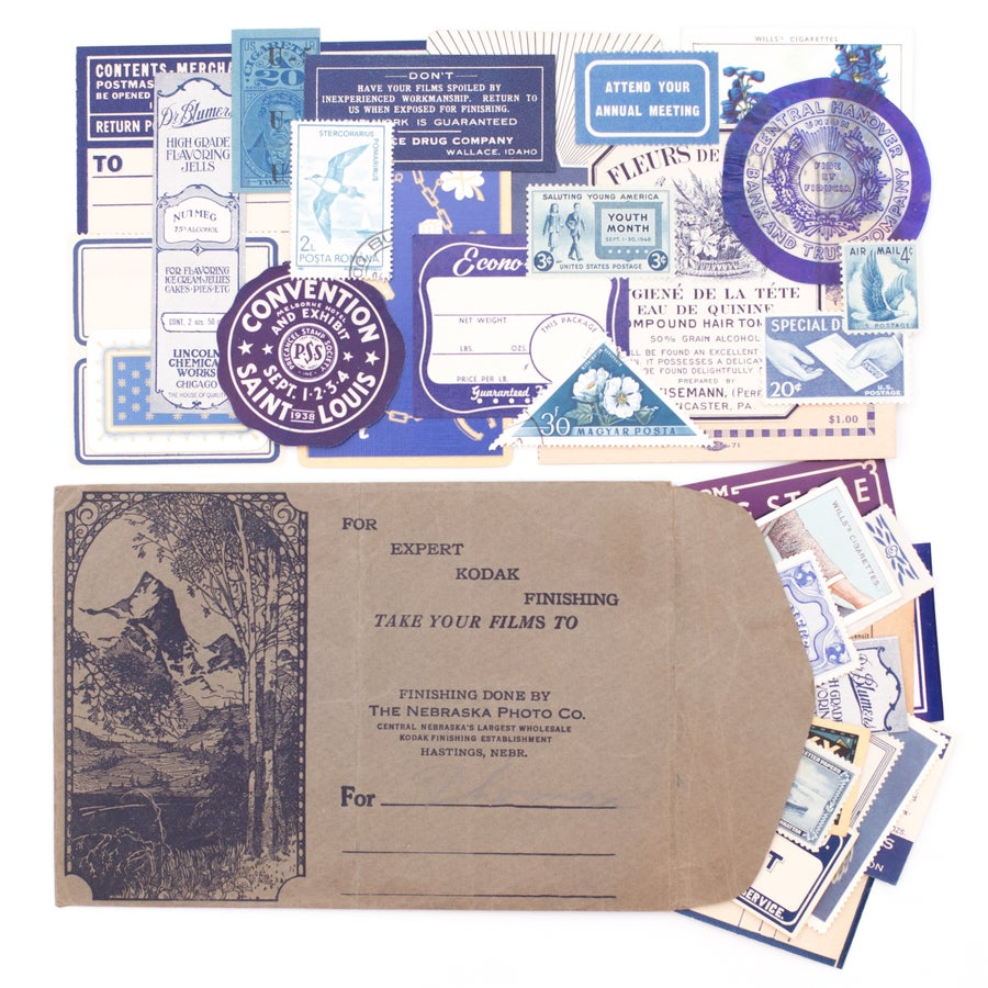 Image of Navy Photo Envelope with Blue Ephemera