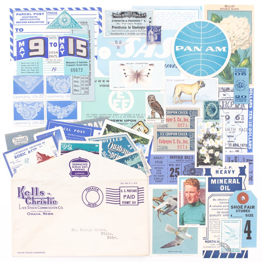 Image of Business Envelope with Blue Ephemera