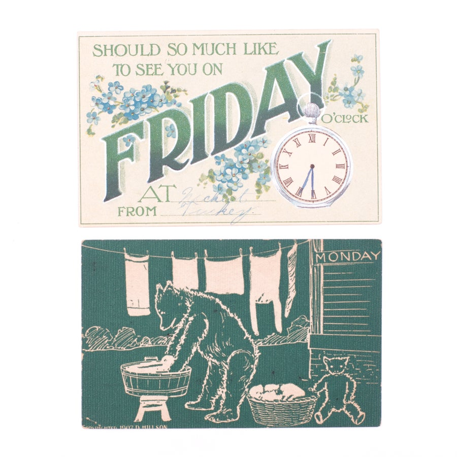 """Image of Green """"Days of the Week"""" Postcards - Set of 2"""