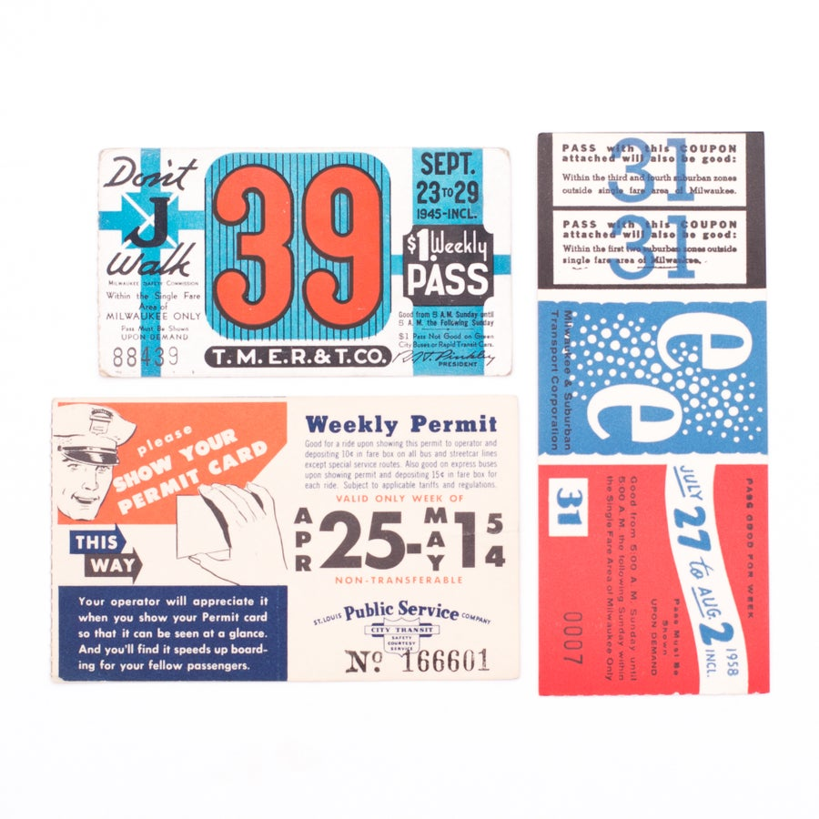 Image of Red, White, & Blue Transit Tickets - Set of 3