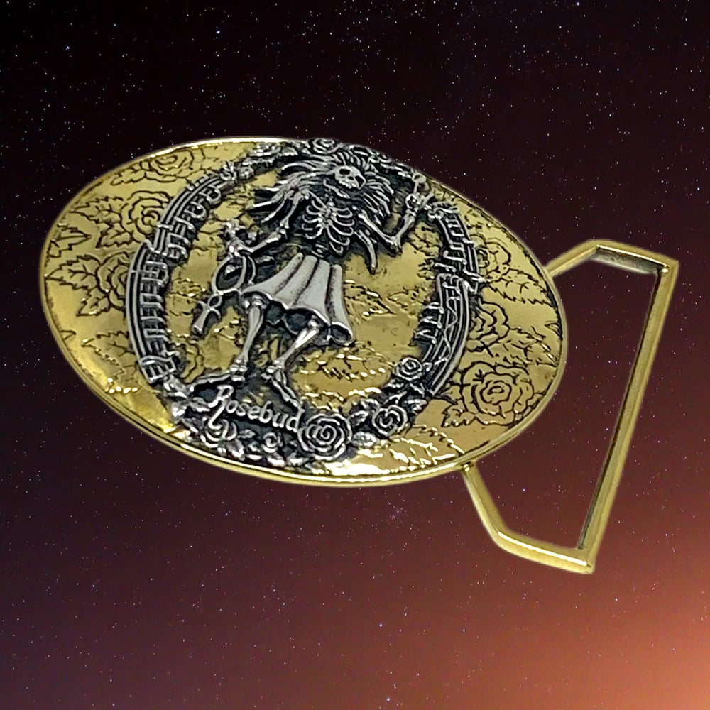 Image of Rosebud Buckle Cast In Yellow Brass with Sterling Silver
