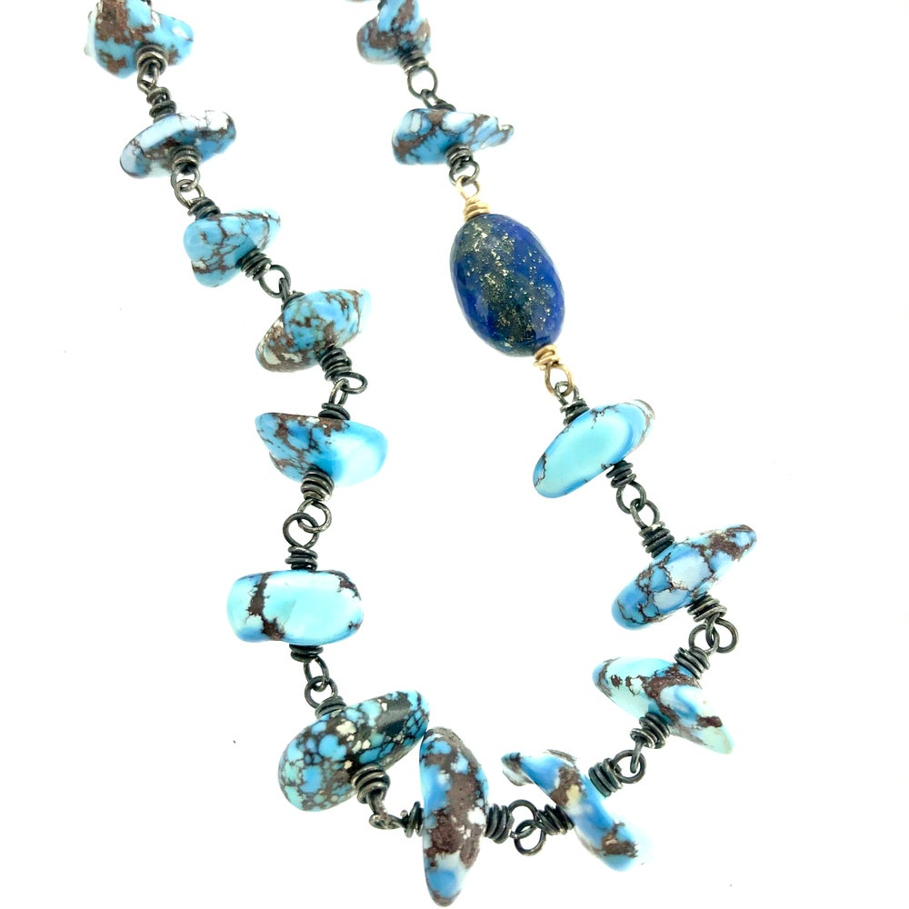 Image of Golden Hills turquoise necklace in sterling and 14k gold