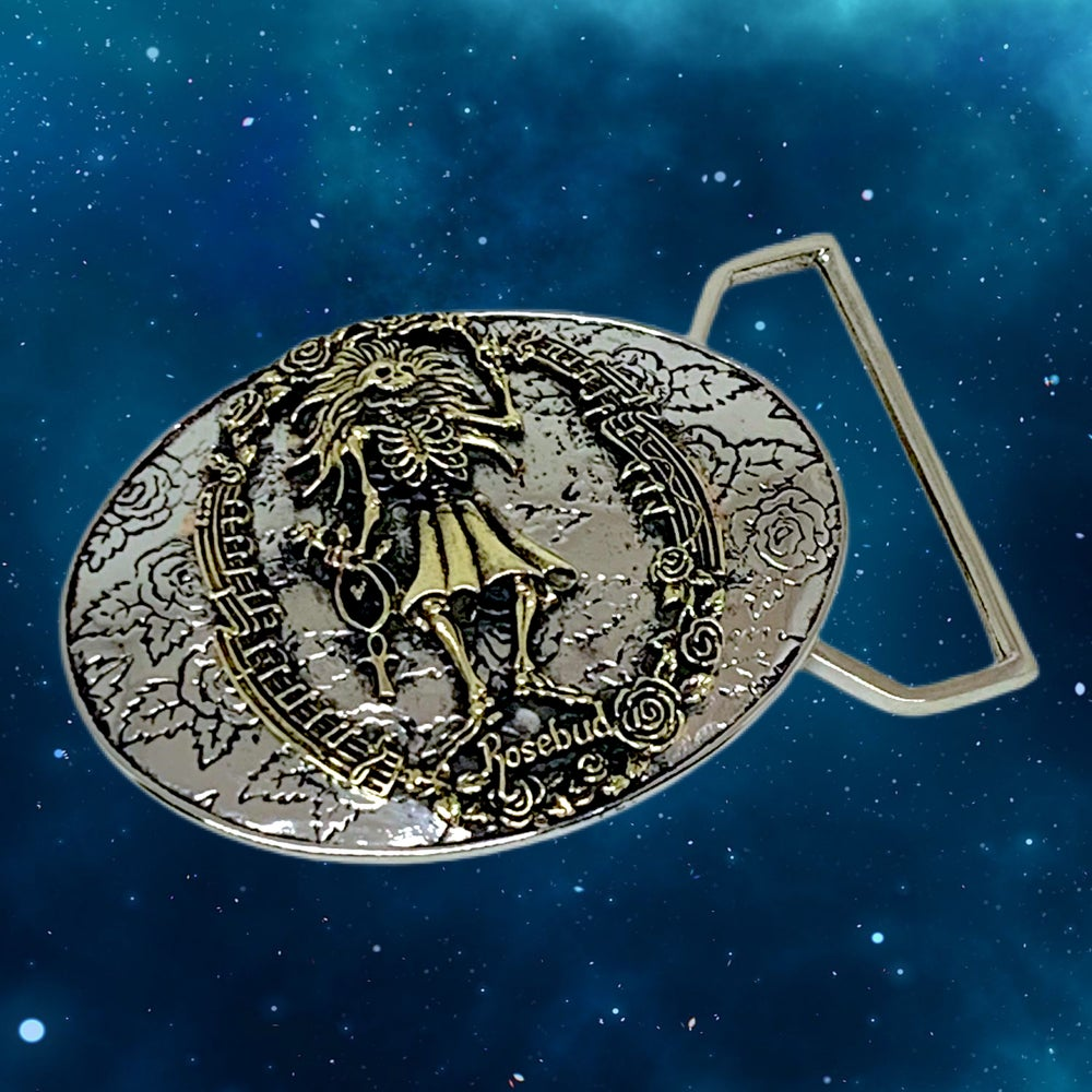 Image of Rosebud Buckle Cast in White & Yellow  Brass