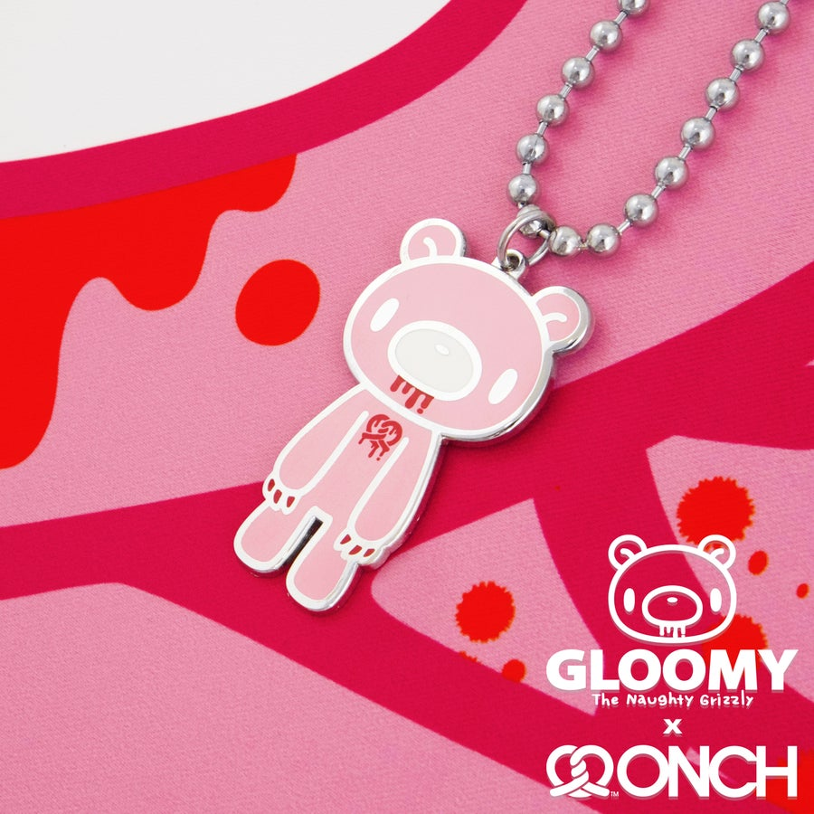 Image of Gloomy Bear pretzel heart necklace