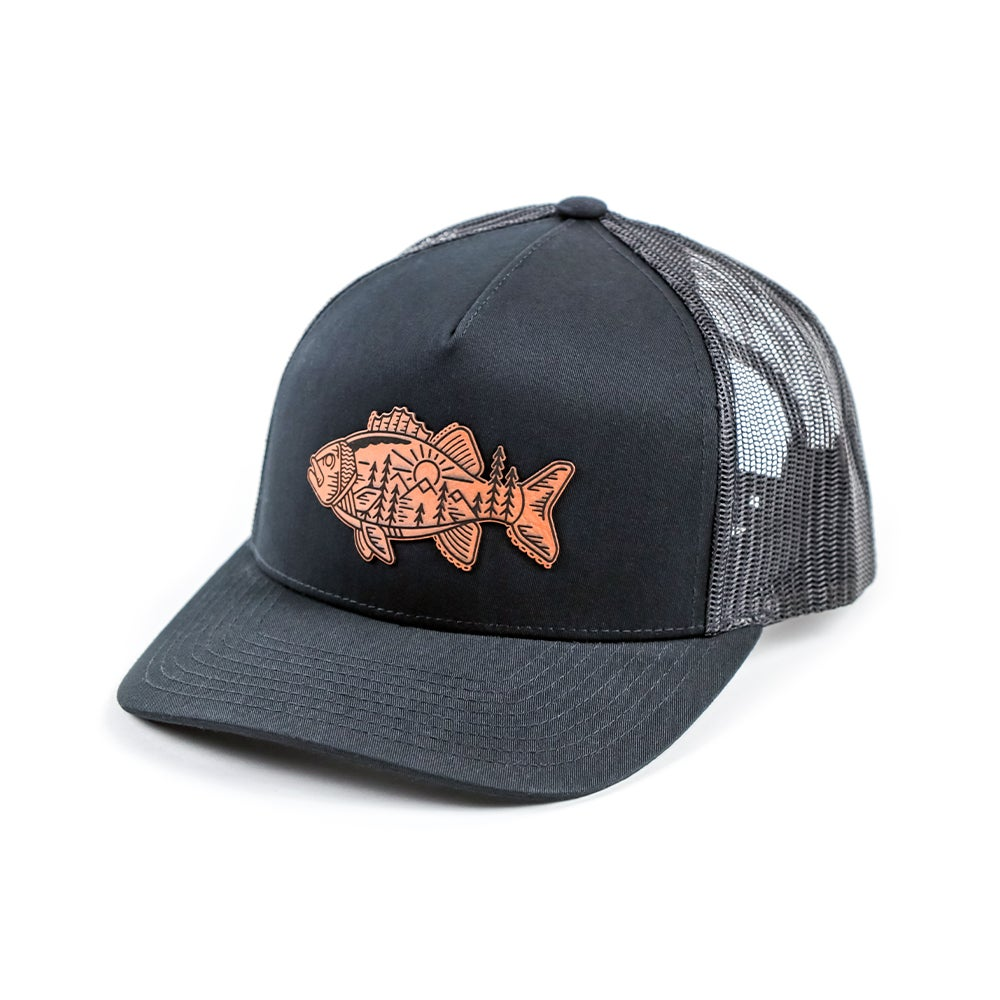 Image of Tribal Fish Snapback- Black/Black Mesh