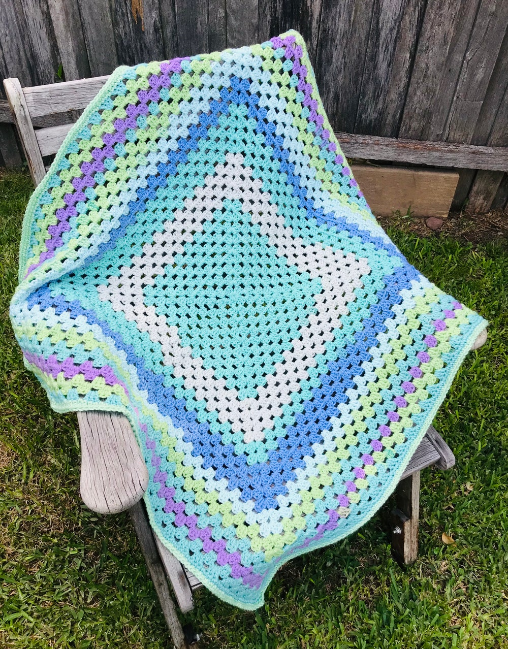 Image of Custom Made Crocheted Granny Square Blanket